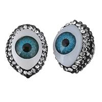 Harz Evil Eye Perlen, mit Ton, Pferdeauge, böser Blick- Muster & mit Strass, 14.50x19.50x14mm, Bohrung:ca. 0.5mm, 10PCs/Menge, verkauft von Menge