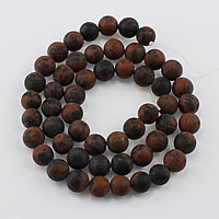 Mahagoni Obsidian Perlen, mahagonibrauner Obsidian, rund, natürlich, verschiedene Größen vorhanden & satiniert, Bohrung:ca. 1-2mm, Länge:ca. 16 ZollInch, verkauft von Menge