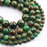 Goldsand Perle, rund, verschiedene Größen vorhanden, grün, verkauft per ca. 15 ZollInch Strang