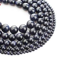 blauer Goldsand Perle, rund, verschiedene Größen vorhanden, verkauft per ca. 15 ZollInch Strang