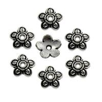 Zinklegierung Perlenkappe, Blume, antik silberfarben plattiert, frei von Blei & Kadmium, 7x7x1.5mm, Bohrung:ca. 1mm, 500PCs/Tasche, verkauft von Tasche