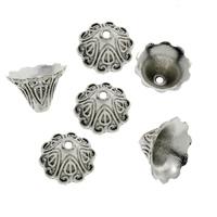 Zinklegierung Perlenkappe, Blume, antik silberfarben plattiert, frei von Blei & Kadmium, 15x10mm, Bohrung:ca. 2mm, 300PCs/Tasche, verkauft von Tasche