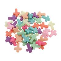 Acryl Anhänger, Kreuz, gemischte Farben, 12x16x4mm, Bohrung:ca. 1.5mm, 500G/Tasche, verkauft von Tasche
