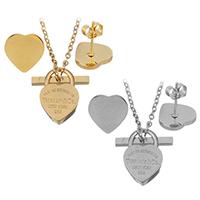 Edelstahl Schmucksets, Ohrring & Halskette, Herz, plattiert, Oval-Kette & für Frau, keine, 10x14.5mm, 1mm, 10x10mm, Länge:ca. 18 ZollInch, verkauft von setzen