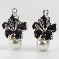 Zinklegierung Blume Anhänger, mit Kunststoff Perlen, antik silberfarben plattiert, Emaille, 19x31mm, Bohrung:ca. 1-2mm, 100PCs/Menge, verkauft von Menge