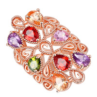 Messing Halskette, echtes Rósegold plattiert, verschiedene Größen vorhanden & Micro pave Zirkonia & für Frau, frei von Nickel, Blei & Kadmium, verkauft von PC