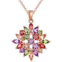 Messing Halskette, mit Verlängerungskettchen von 1.9inch, Blume, echtes Rósegold plattiert, Oval-Kette & Micro pave Zirkonia & für Frau, frei von Nickel, Blei & Kadmium, 20x20mm, verkauft per ca. 17.7 ZollInch Strang