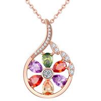 Messing Halskette, mit Verlängerungskettchen von 1.9inch, Blume, echtes Rósegold plattiert, Oval-Kette & für Frau & mit kubischem Zirkonia, frei von Nickel, Blei & Kadmium, verkauft per ca. 17.7 ZollInch Strang