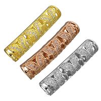 Messing Rohr Perlen, gebogenes Rohr, plattiert, Micro pave Zirkonia & hohl, keine, 31x7x8mm, Bohrung:ca. 5mm, 10PCs/Menge, verkauft von Menge