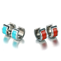 Huggie Ohrreifen, Edelstahl, Kreisring, für Frau & Epoxy Aufkleber, keine, 7x12.4mm, verkauft von Paar