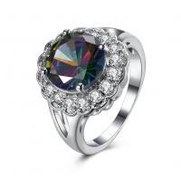 comeon® Finger-Ring, Messing, Blume, platiniert, verschiedene Größen vorhanden & für Frau & mit kubischem Zirkonia, 16mm, verkauft von PC