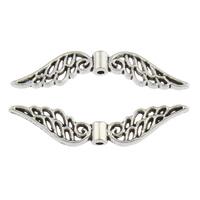 Zink Legierung Perlen Schmuck, Zinklegierung, Flügelform, plattiert, keine, frei von Blei & Kadmium, 32x7x3mm, Bohrung:ca. 1mm, ca. 500PCs/Tasche, verkauft von Tasche