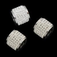 Edelstahl-Perlen mit großem Loch, Edelstahl, mit Strass & großes Loch, originale Farbe, 25x12.50mm, Bohrung:ca. 7mm, 10PCs/Tasche, verkauft von Tasche