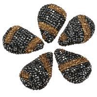 Strass Ton befestigte Perlen, Tropfen, keine, 20-22x29-31x9-10mm, Bohrung:ca. 1mm, 10PCs/Menge, verkauft von Menge
