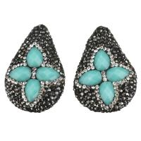 Strass Ton befestigte Perlen, mit Kristall, Tropfen, facettierte, Aquamarin, 26-28x37-40x12-14mm, Bohrung:ca. 2mm, 10PCs/Menge, verkauft von Menge
