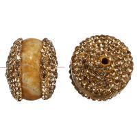 Strass Ton befestigte Perlen, mit Chrysanthemen Stein, Trommel, 15-16x16-18x16-18mm, Bohrung:ca. 2mm, 10PCs/Menge, verkauft von Menge