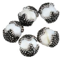 Strass Ton befestigte Perlen, mit Weiße Porzellan, 17-20x21-24x17-20mm, Bohrung:ca. 2mm, 10PCs/Menge, verkauft von Menge