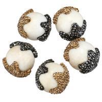 Strass Ton befestigte Perlen, mit Weiße Porzellan, 19-22x24-27x19-22mm, Bohrung:ca. 2mm, 10PCs/Menge, verkauft von Menge