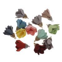 Zinklegierung Blume Anhänger, Wollschnur, mit Zinklegierung, keine, 17x24mm, Bohrung:ca. 1mm, 100PCs/Tasche, verkauft von Tasche