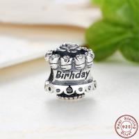 Bali Sterling Silber Perlen, Thailand, Kuchen, Wort-Geburtstag, Micro pave Zirkonia & ohne troll, 10x12mm, Bohrung:ca. 4.5-5mm, verkauft von PC