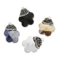KRISTALLanhänger, Kristall, mit Ton & Zinklegierung, Blume, facettierte, mehrere Farben vorhanden, 14x20x8mm, Bohrung:ca. 1.5mm, 10PCs/Tasche, verkauft von Tasche