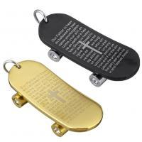 Edelstahl Schmuck Anhänger, Skateboard, plattiert, mit Brief Muster & mit Strass, keine, 20x46x9mm, Bohrung:ca. 6mm, verkauft von PC