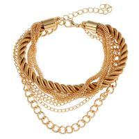 Zinklegierung Armband, mit Nylonschnur, mit Verlängerungskettchen von 1lnch, goldfarben plattiert, für Frau & 7-Strang, keine, frei von Nickel, Blei & Kadmium, verkauft per 7.4 ZollInch Strang