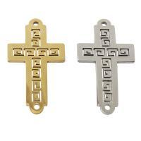 Edelstahl Schmuckverbinder, Kreuz, plattiert, 1/1-Schleife, keine, frei von Nickel, Blei & Kadmium, 13x30x1mm, Bohrung:ca. 1mm, verkauft von PC
