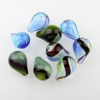 Handgewickelte Perlen, Lampwork, Tropfen, verschiedene Muster für Wahl & hohl, 14x20mm, Bohrung:ca. 2-2.5mm, 10PCs/Tasche, verkauft von Tasche