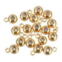Messing Stiftöse Perlen, mit Gummi Earnut, Kreisring, vergoldet, 4x6x3mm, Bohrung:ca. 1mm, 0.5mm, 100PCs/Menge, verkauft von Menge