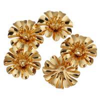 Messing Perlenkappe, Blume, vergoldet, 14x14x5mm, Bohrung:ca. 0.8mm, 50PCs/Menge, verkauft von Menge