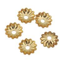 Messing Perlenkappe, Blume, vergoldet, 6x6x1.50mm, Bohrung:ca. 1.2mm, 200PCs/Menge, verkauft von Menge