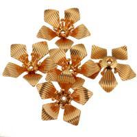 Messing Perlenkappe, Blume, echtes Rósegold plattiert, gehämmert, 17.50x16.50x4.50mm, Bohrung:ca. 1mm, 100PCs/Menge, verkauft von Menge