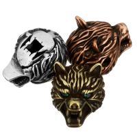 Befestigte Zirkonia Perlen, Messing, Wolf, plattiert, Micro pave Zirkonia, keine, 11.50x11x15mm, Bohrung:ca. 2mm, 20PCs/Menge, verkauft von Menge