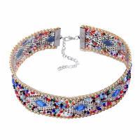 Mode-Halskette, Glas-Rocailles, mit Kristall & Zinklegierung, mit Verlängerungskettchen von 7cm, für Frau & mit Strass, 30mm, verkauft per ca. 11.5 ZollInch Strang