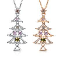 comeon® Schmuck Halskette, Messing, Weihnachtsbaum, plattiert, Weihnachtsschmuck & Oval-Kette & Micro pave Zirkonia & für Frau, keine, frei von Nickel, Blei & Kadmium, 21x41mm, verkauft per ca. 18 ZollInch Strang