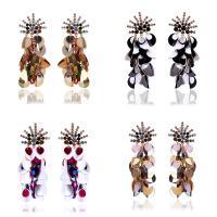 Zinklegierung Ohrringe, mit Kunststoff Pailletten, Edelstahl Stecker, goldfarben plattiert, für Frau & mit Strass, keine, frei von Blei & Kadmium, 110mm, verkauft von Paar
