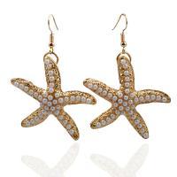 Zinklegierung Ohrringe, mit Kunststoff Perlen, Seestern, goldfarben plattiert, für Frau, frei von Nickel, Blei & Kadmium,  45mm, verkauft von Paar