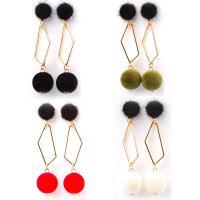 Zinklegierung Ohrringe, mit Plüsch, goldfarben plattiert, für Frau, keine, frei von Nickel, Blei & Kadmium, 75mm, verkauft von Paar