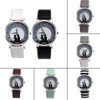 Damen Armbanduhr, PU Leder, mit Glas & Zinklegierung, plattiert, verschiedene Muster für Wahl & für Frau, 37x8mm, Länge:ca. 9 ZollInch, verkauft von PC