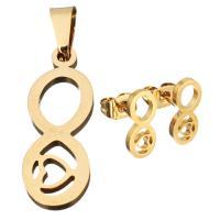 Edelstahl Schmucksets, Anhänger & Ohrring, Unendliche, goldfarben plattiert, für Frau, 7.5x20mm, 12x5mm, Bohrung:ca. 3x5mm, verkauft von setzen