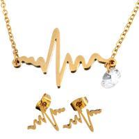 Strass-Schmuck-Sets, Ohrring & Halskette, Edelstahl, goldfarben plattiert, Oval-Kette & für Frau & mit Strass, 28x18mm, 1.5mm, 15x11mm, Länge:ca. 19 ZollInch, verkauft von setzen