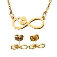 Edelstahl Schmucksets, Ohrring & Halskette, Unendliche, goldfarben plattiert, Oval-Kette & für Frau, 19x7.5mm, 1.5mm, 12x5mm, Länge:ca. 18.5 ZollInch, verkauft von setzen