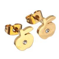 Edelstahl Ohrringe, Apfel, goldfarben plattiert, für Frau & mit Strass, 8x8.50mm, 12PaarePärchen/Menge, verkauft von Menge