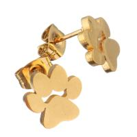 Edelstahl Ohrringe, bear Paw, goldfarben plattiert, für Frau, 10x10mm, 12PaarePärchen/Menge, verkauft von Menge