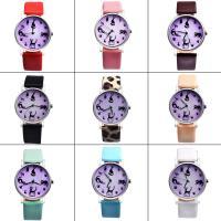 Damen Armbanduhr, PU Leder, mit Glas & Edelstahl & Zinklegierung, silberfarben plattiert, für Frau, keine, 37x8mm, Länge:ca. 9 ZollInch, verkauft von PC