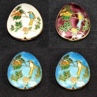 Cloisonne Perlen, Cloisonné, Tropfen, handgemacht, keine, 42x30mm, Bohrung:ca. 1.5mm, verkauft von PC