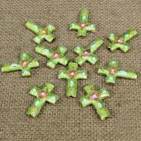 Cloisonne Perlen, Cloisonné, Kreuz, handgemacht, keine, 20x17mm, Bohrung:ca. 1.5mm, 10PCs/Tasche, verkauft von Tasche