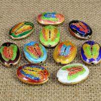 Cloisonne Perlen, Cloisonné, flachoval, handgemacht, keine, 20x15mm, Bohrung:ca. 1.5mm, 10PCs/Tasche, verkauft von Tasche