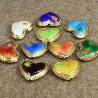 Cloisonne Perlen, Cloisonné, Herz, handgemacht, keine, 18x15mm, Bohrung:ca. 1.5mm, 10PCs/Tasche, verkauft von Tasche